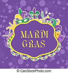 Mardi Gras poster with mask, beads, trumpet, drum, fleur de lis, jester hat, masks, comedy and drama. Carnival template, flyer, invitation. Fat Tuesday background. Vector illustration