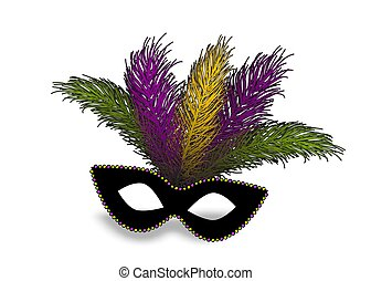 Mardi Gras realistic mask feather