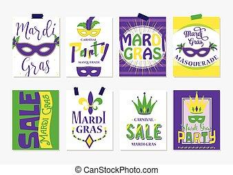 mardi gras, saudação, ilustração, venda, vetorial, voador, partido, cartões