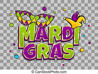 Mardi Gras shimmer pearl backdrop - Comics text mask...