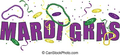 Mardi Gras text - Happy Mardi Gras