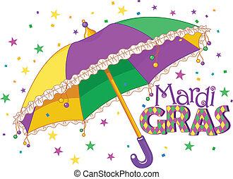 Mardi Gras type treatment with colorful umbrella