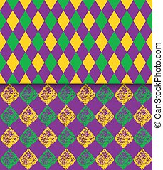 Mardi Gras vector carnival rhombic pattern. Fat or Shrove Tuesday poster, invitation, greeting card etc.