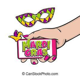 Mardi Gras vector comic text pop art