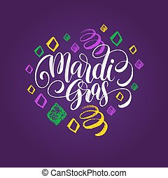 Mardi Gras vector hand lettering. Fat or Shrove Tuesday greeting card, invitation, poster with carnival patterns.