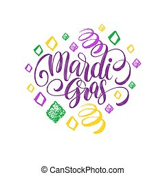 Mardi Gras vector hand lettering. Fat or Shrove Tuesday...