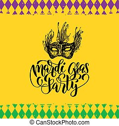 Mardi Gras vector hand lettering. Fat Tuesday greeting card, invitation with mask illustration. Carnival background.
