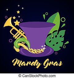 mardi grass celebration card with tophat and trumpet vector...