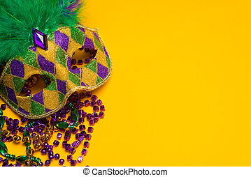mardi, grupa, carnivale, barwny, masks., gras, maska, żółty, wenecjanin, tło., świąteczny, albo