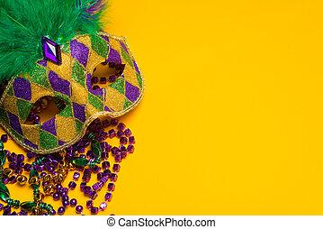 mardi, grupa, carnivale, barwny, masks., gras, maska, żółty,...
