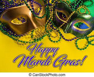 mardi, jaune, perles, fond, gras, masque, salutation