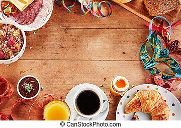 mardi, karnawał, zdrowy, ułożyć, gras, śniadanie, albo
