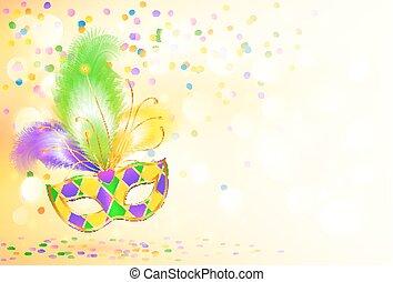 mardi, karneval, affisch, gras, maskera, lysande, bakgrund