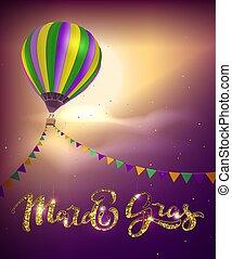 mardi, karneval, girland, balloon, gras, fett, dekoration,...