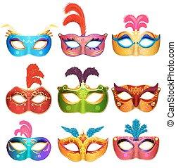 mardi, maszk, velencei, gyűjtés, buli., vektor, kézi munka, álarcos mulatság, farsang, arc, masks., ábra, fű