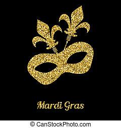 mardi, oro, veneciano, mask., glitter., carnaval, gras, ...