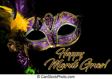 mardi, púrpura, gras, máscara, saludo, veneciano, o