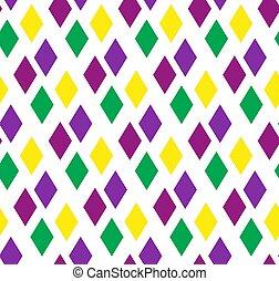 mardi, paarse , achtergrond., abstract, gras, pattern., het herhalen, ruit, achtergrond, vector, groene, behang, geometrisch, gele, eindeloos, texture., illustration.