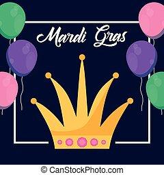 mardi, regina, gras, corona, scheda