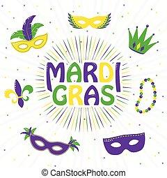 mardi, roxo, gras, saudação, ilustração, amarela, vetorial, verde, cartão