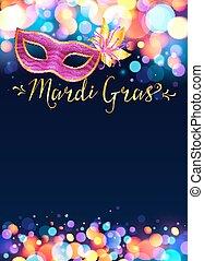 mardi, roze, helder, carnaval, poster, gras, masker, effect...