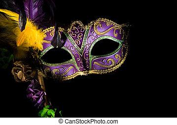mardi, veneciano, o, gras, máscara, púrpura