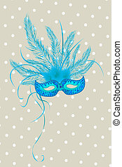 Mardigras - Blue mardigras mask deorated with feathers