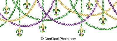 border with beads - Mardy gras horizontal seamless border...