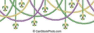 border with beads - Mardy gras horizontal seamless border ...