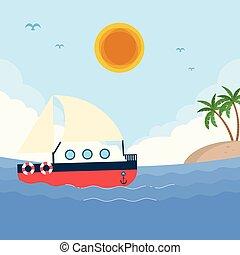 mare, barca, sole, isola, cielo blu, fondo, vettore, immagine