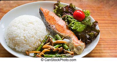 mare, fish, fritto, riso, verdura, e, verdura, insalata
