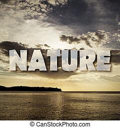 mare, fondo, con, testo, di, natura