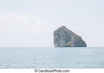 mare, isola, blu, cielo, fondo