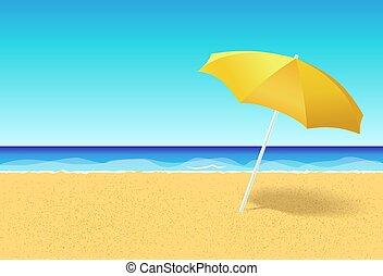 mare, manifesto, persone, testo, ocean., blu, spazio, concept., cielo, vacanza, fondo., senza, festa, vacanza, spiaggia, vuoto, appartamento, ombrello, aviatore, ads., orizzontale, bandiera, abbandonato, vettore, parasole, o