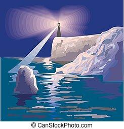 mare, notte, vettore, paesaggio, faro