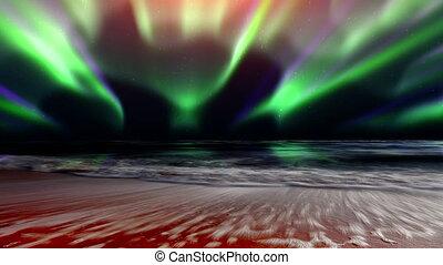 mare, onde, e, il, luci nordiche