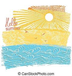 mare, onde, e, sun., vettore, illustrazione, di, mare, paesaggio, con, testo