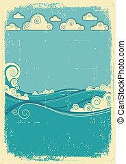 mare, onde, in, sole, day., vendemmia, astratto, immagine, su, grunge, carta
