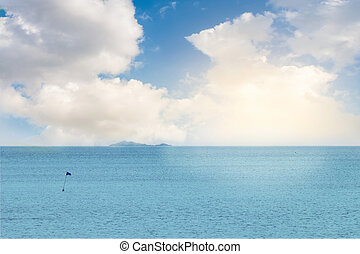 mare, paesaggio, con, alba, e, nuvola