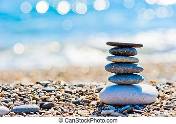 mare, ??shore, e, il, torre, di, liscio, pietre