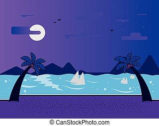 mare, spiaggia, paesaggio, notte, viste