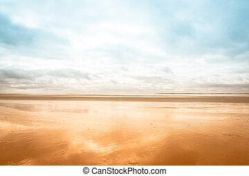 marea, playa, bajo