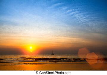 marea, sopra, tramonto, basso, oceano