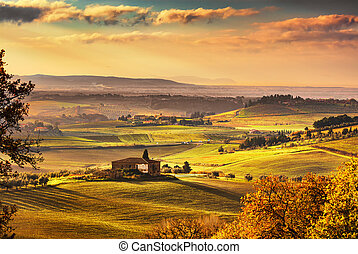 Maremma, rural sunset landscape. Countryside old farm and...