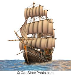 mares, barco, áspero, navegación
