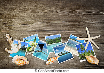 mares, foto, tropical, de madera, plano de fondo, conchas marinas