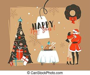 maretak, het koesteren, jaar, tafel, vrijstaand, retro, onder, illustraties, getrokken, gelukkig paar, hand, ambacht, achtergrond, nieuw, spotprent, kaart, romantische, boompje, diner, vector, tijd, kussende
