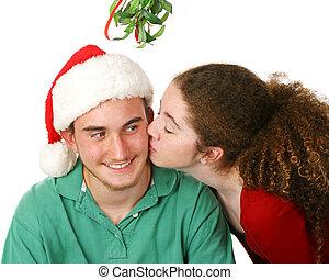 maretak, onder, kerstmis, kus