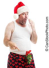 maretak, ondeugende , kerstmis, man