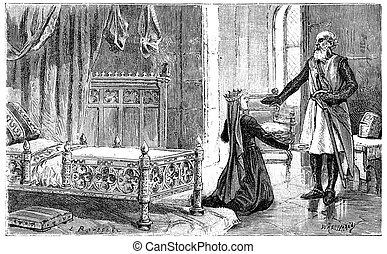 Margaret of Provence in Damietta, vintage engraving.
